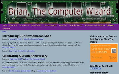 Screenshot of Press Page thecomputerwizard.info - Our Blog   Brian, The Computer Wizard - captured Nov. 13, 2018