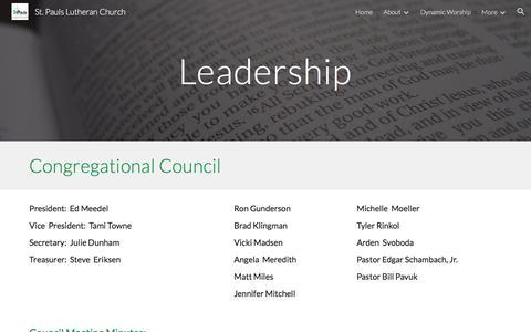 Screenshot of Team Page google.com - St. Pauls Lutheran Church - Leadership - captured July 3, 2018