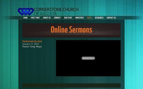 Screenshot of Press Page cornerstoneaugusta.org - Video «  Cornerstone Church of Augusta - captured Feb. 1, 2016