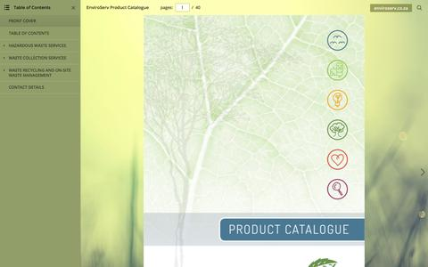 Screenshot of Products Page enviroserv.co.za - EnviroServ Product Catalogue - captured July 14, 2018