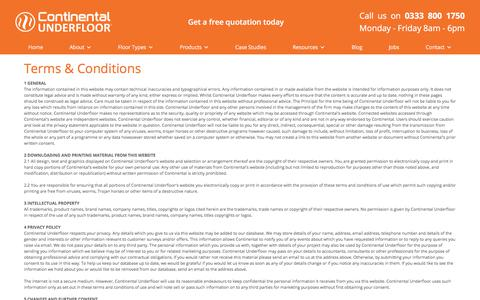 Screenshot of Terms Page ufh.co.uk - Continental Underfloor - Terms & Conditions - captured Jan. 29, 2018