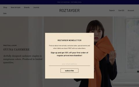 Screenshot of Home Page roztayger.com - Roztayger | Handpicked Luxury Lifestyle Goods for the Modern Minded - captured Sept. 22, 2018