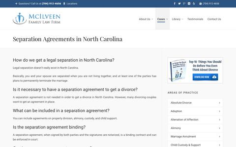 NC Separation Agreement | Charlotte NC Divorce Lawyer & Family Law Attorneys - McIlveen Family Law
