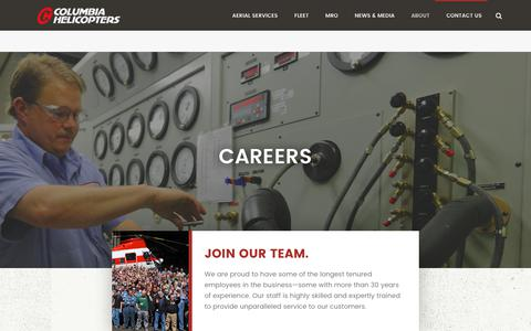 Screenshot of Jobs Page colheli.com - Columbia Helicopters Careers, Jobs, Employment - captured Aug. 17, 2017