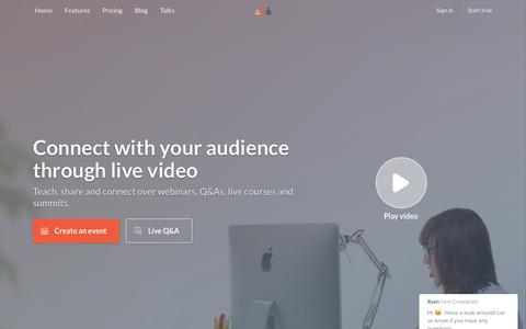 Screenshot of Home Page crowdcast.io - Crowdcast – Connect with your audience over live video - captured Nov. 2, 2016