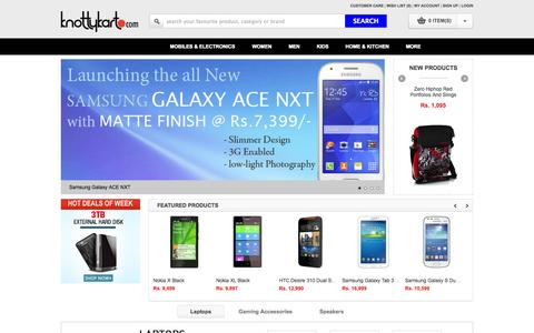 Screenshot of Home Page knottykart.com - Online Shopping India - Shop Online for Mobile Phones, Digital Cameras, Pen Drives, Laptops and more at Knottykart.com - captured Sept. 24, 2014