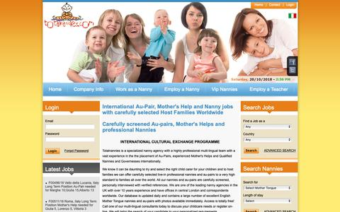 Screenshot of Home Page totalnannies.com - Nanny, Mother's Help and Au-pair positions overseas with Totalnannies - captured Oct. 20, 2018