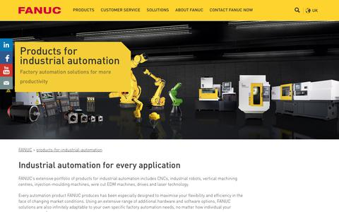 Screenshot of Products Page fanuc.eu - Industrial automation – explore FANUC's range of products - captured Sept. 25, 2018