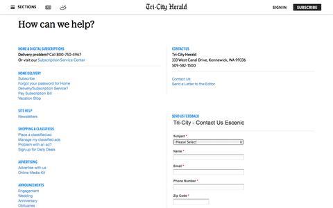 Screenshot of Support Page tri-cityherald.com - Customer Service | Tri-City Herald - captured Sept. 23, 2018