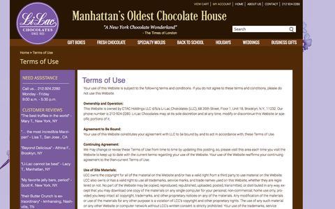 Screenshot of Terms Page li-lacchocolates.com - Terms of Use  | Li-Lac Chocolates - captured July 13, 2016