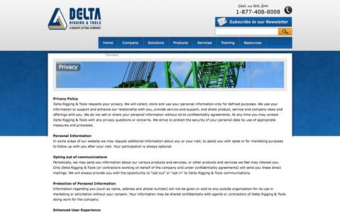 Screenshot of Privacy Page deltarigging.com - Privacy Policy | Delta Rigging & Tools - captured Oct. 5, 2014