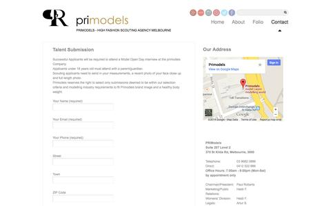Screenshot of Contact Page primodels.com - Talent Submission - captured Sept. 30, 2014