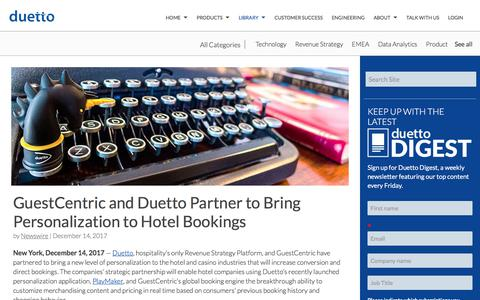 Screenshot of Case Studies Page duettocloud.com - GuestCentric and Duetto Partner to Bring Personalization to Hotel Bookings - captured Jan. 6, 2020