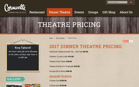 Screenshot of Pricing Page turkeyville.com - Theatre Pricing - Turkeyville - captured Aug. 31, 2017