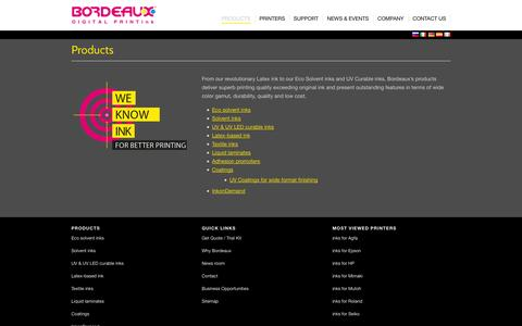 Screenshot of Products Page Testimonials Page c-m-y-k.com - Products | Bordeaux Digital PrintInk Ltd. - captured Oct. 23, 2014