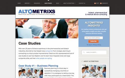 Screenshot of Case Studies Page altometrixs.com - Case Studies: Process Improvements, Specialty Channels & More   Altometrixs - captured Oct. 4, 2014
