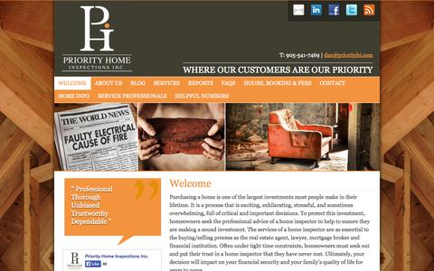 Screenshot of Home Page priorityhi.com - Welcome - Priority Home Inspections - captured Jan. 27, 2015