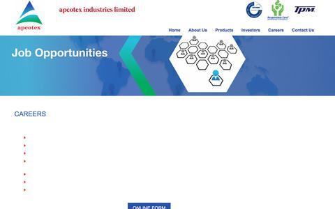 Screenshot of Jobs Page apcotex.com - Apcotex Industries Limited - captured Oct. 8, 2017