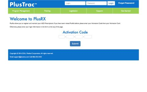 Screenshot of Login Page plustrac.com - PlusTrac - AED Program Management - captured Nov. 8, 2016