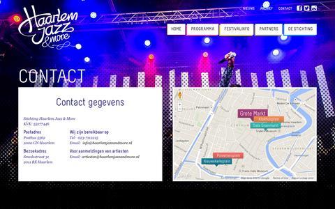 Screenshot of Contact Page haarlemjazzandmore.nl - Contact - Haarlem Jazz & More 19, 20, 21 en 22 augustus 2015 - captured Sept. 27, 2014