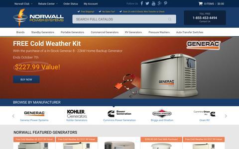 Screenshot of Home Page norwall.com - Standby Generators   Portable Generators   RV Generators   Electrical Generators - captured Oct. 1, 2015