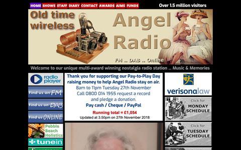 Screenshot of Home Page angelradio.co.uk - Home - captured Nov. 29, 2018