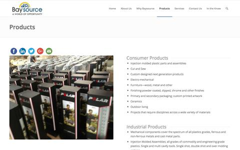 Screenshot of Products Page baysourceglobal.com - Product Manufacturing - Baysource Global - captured Aug. 1, 2018