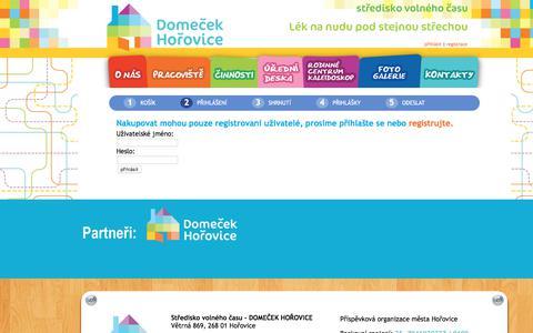 Screenshot of Login Page domecekhorovice.cz - Domeček Hořovice - Středisko volného času | cart - captured June 28, 2018