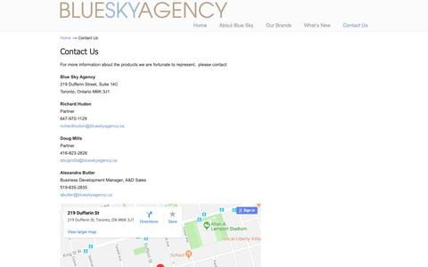 Screenshot of Contact Page blueskyagency.ca - Contact Us – Blue Sky Agency Toronto - captured Oct. 6, 2018
