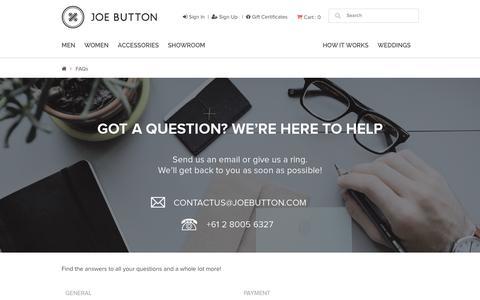 Screenshot of FAQ Page joebutton.com - FAQs - captured Nov. 23, 2015