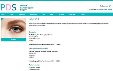Screenshot of Locations Page pdsurgery.co.uk - Cosmetic Surgery West Midlands, Worcester, Wolverhampton & Droitwich - captured Nov. 8, 2016