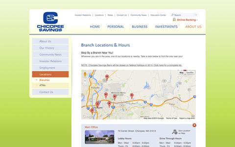 Screenshot of Locations Page chicopeesavings.com - Locations and Hours   Chicopee Savings Bank   Chicopee - West Springfield - Ware   MA - captured Oct. 2, 2014