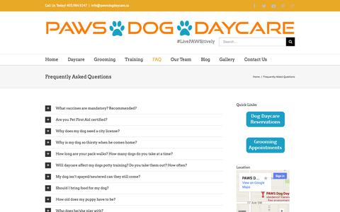 Screenshot of FAQ Page pawsdogdaycare.ca - Calgary Dog Daycare, Grooming, Training   –  Frequently Asked Questions - captured Sept. 26, 2014