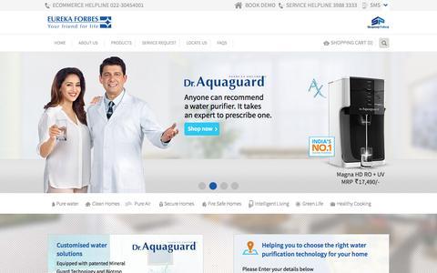 Screenshot of Home Page eurekaforbes.com - Eureka Forbes - Water Purifiers   Vacuum Cleaners   Air Purifiers - captured Oct. 1, 2015