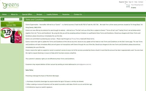 Screenshot of Terms Page greens.com.mt - Greens Supermarket - Terms and Conditions - captured Feb. 2, 2016