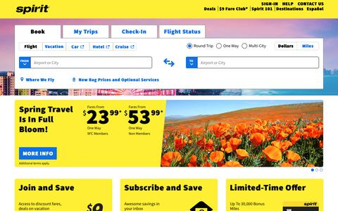 Screenshot of Home Page spirit.com - Book flight tickets online with low-fare airline | Spirit Airlines - captured March 7, 2019