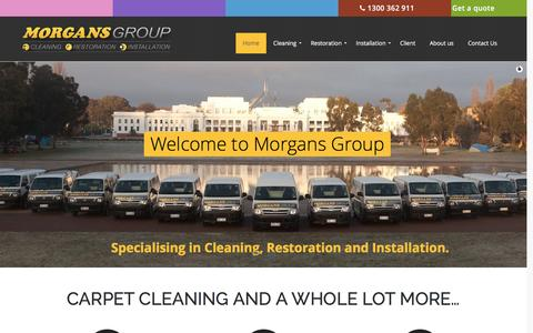 Screenshot of Home Page morgansgroup.com.au - Canberra Carpet Cleaning, Carpet Installation, Windows and General cleaning - - captured Feb. 28, 2016