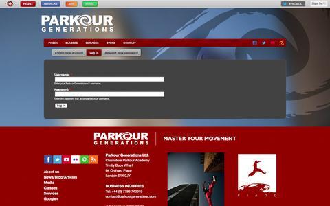 Screenshot of Login Page parkourgenerations.com - User account   Parkour Generations - captured Nov. 4, 2014