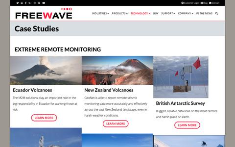 Screenshot of Case Studies Page freewave.com - Case Studies for Industrial IoT, IIoT, M2M, and Fog Computing solutions - captured Nov. 8, 2018