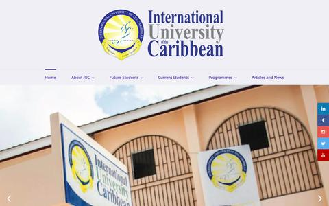 Screenshot of Home Page iuc.edu.jm - Home - International University of the Caribbean - captured July 20, 2019