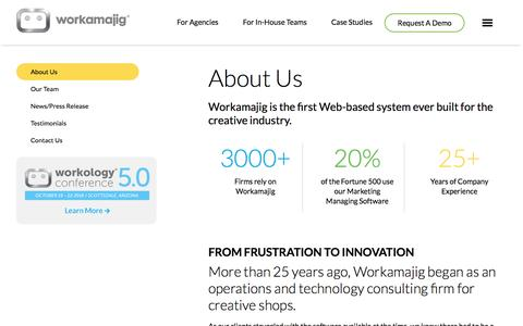 Screenshot of About Page workamajig.com - About Workamajig | Creative Project Management Software - captured June 25, 2016