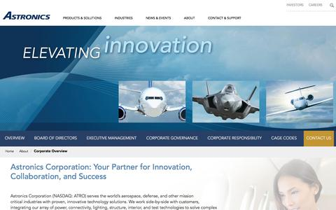 Screenshot of About Page astronics.com - Corporate Overview | Astronics - captured Aug. 10, 2019