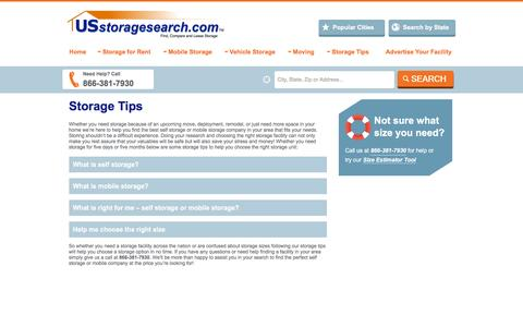 Screenshot of FAQ Page usstoragesearch.com - Storage | Self Storage Units at Moving Storage Facilities in USA - also Mobile Storage & Portable Containers - captured Oct. 20, 2015
