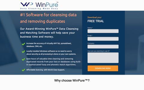 Screenshot of Landing Page winpure.com - Award-Winning Data Cleansing and Matching Software. - captured Jan. 17, 2017