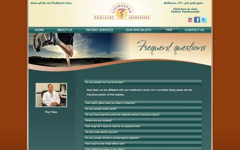 Screenshot of FAQ Page livingstonpodiatry.com - Livingston Podiatry Associates Frequently Asked Questions - captured Oct. 27, 2014