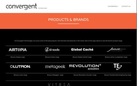 Screenshot of Products Page c-t.com.au - Products & Brands - Convergent Technologies - captured Sept. 29, 2018