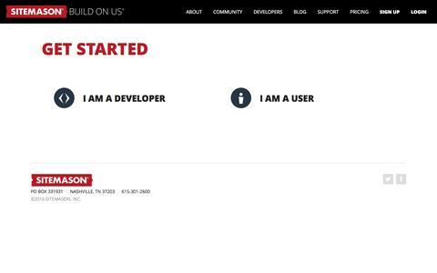Screenshot of Signup Page sitemason.com - Get Started | Sitemason - Build on Us - captured Nov. 6, 2016