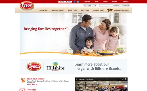 Screenshot of Home Page tysonfoods.com - Tyson Foods - captured Sept. 24, 2014