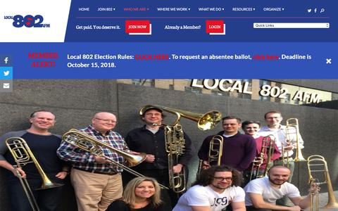 Screenshot of Hours Page local802afm.org - Hours of Operation | Associated Musicians of Greater New York – Local 802 - captured Oct. 2, 2018