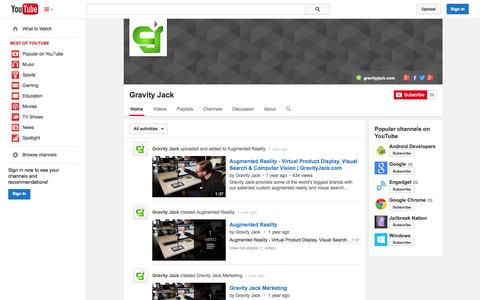 Screenshot of YouTube Page youtube.com - Gravity Jack  - YouTube - captured Oct. 22, 2014